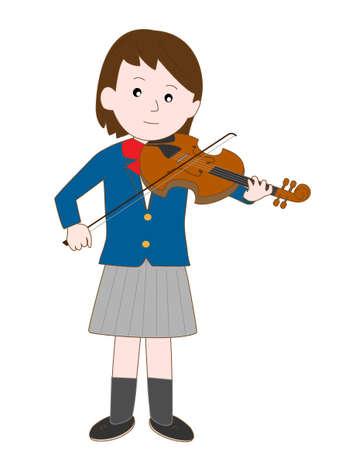 Female high school student violinists