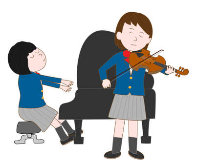 Duos for violin and piano by female high school students  イラスト・ベクター素材