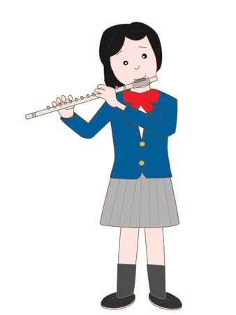 high school student: Female high school student playing flute Illustration