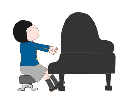 duo: Female high school student playing piano Illustration