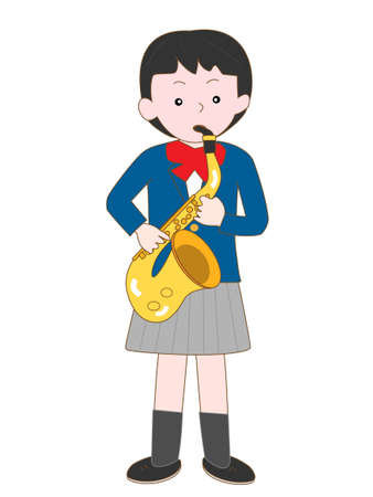 High school girl plays the saxophone