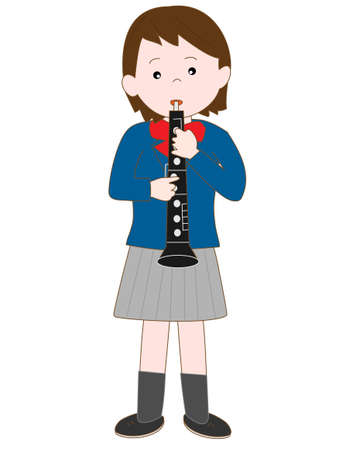 brass band: High school girl plays the oboe Illustration