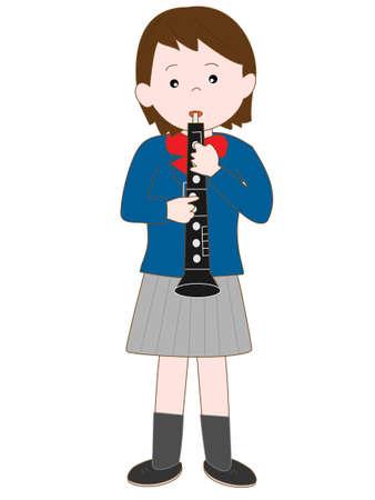 High school girl plays the oboe Ilustração