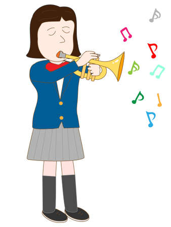 brass band: High school girl playing the trumpet