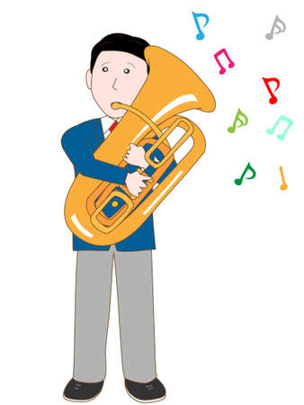 brass band: High school student plays the tuba Illustration