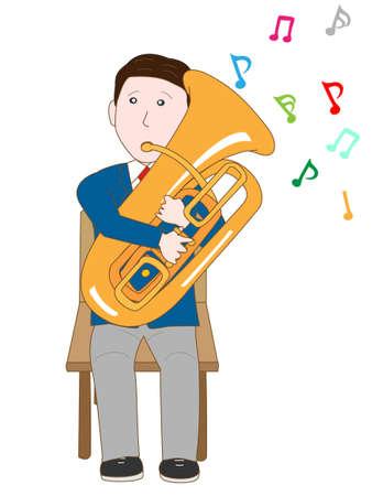 high school student: High school student plays the tuba Illustration