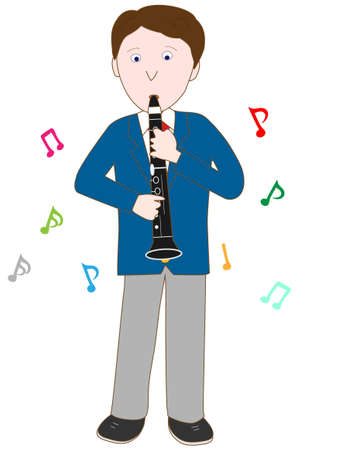 High school student plays the clarinet  イラスト・ベクター素材