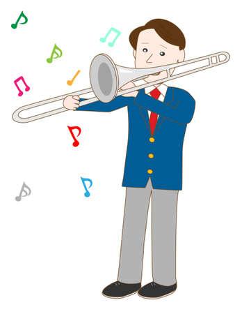 trombon: estudiante de instituto masculino toca el tromb�n