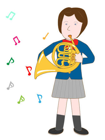 brass band: High school girl playing the Horn