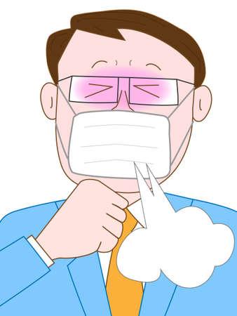 cough: Businessman coughs Illustration