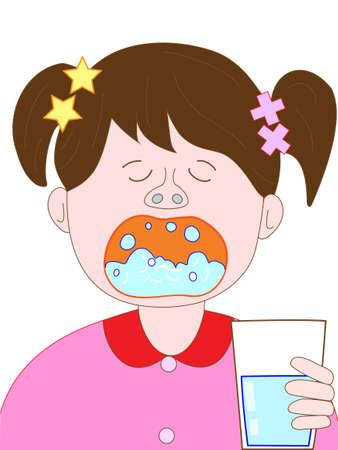 gargle: Children gargle Illustration