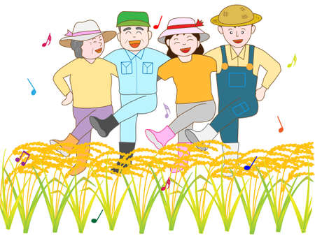 The joy of bumper harvest Vector Illustration