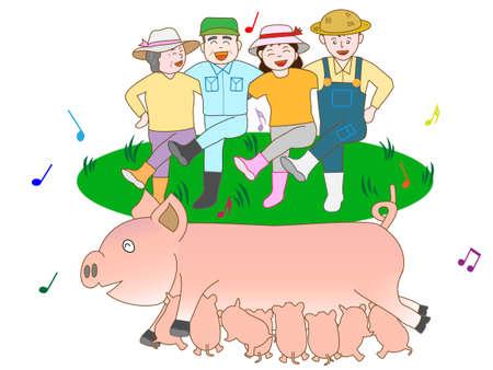 明るい養豚農家