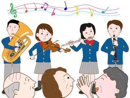 nursing association: Listening to music with the elderly Illustration