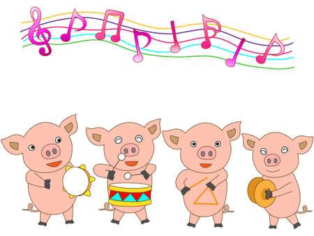 若い豚のためのコンサート  イラスト・ベクター素材
