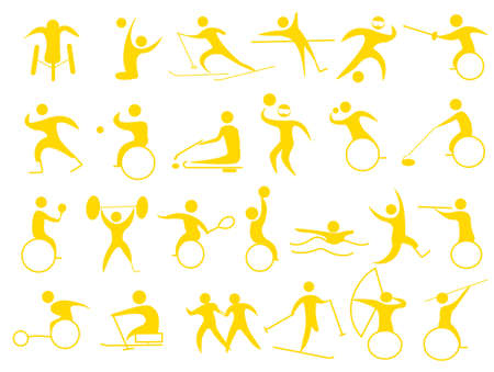 Icons for disabled athletes Vectores