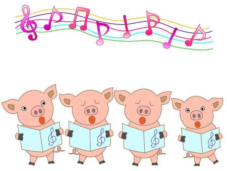 nursery tale: Chorus of piglets Illustration