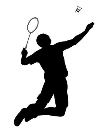 footwork: Silhouette of badminton