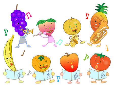 greengrocery: Concert of the fruit Illustration
