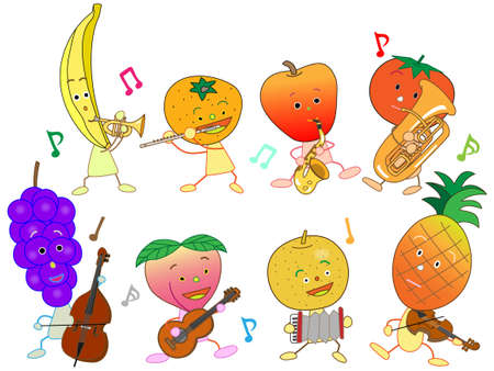 apples and oranges: Concert of the fruit Illustration