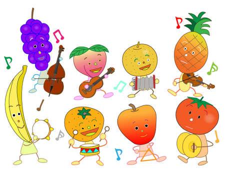 nursery tale: Concert of the fruit Illustration