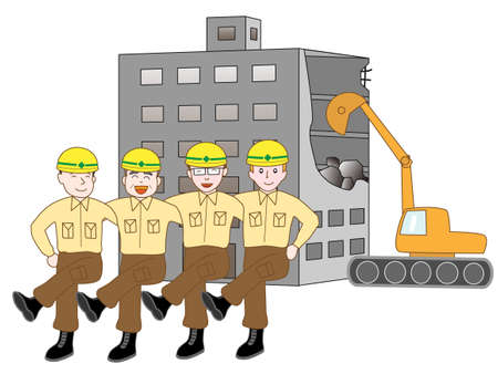 environmental issues: The demolition of the building. The team of workers.