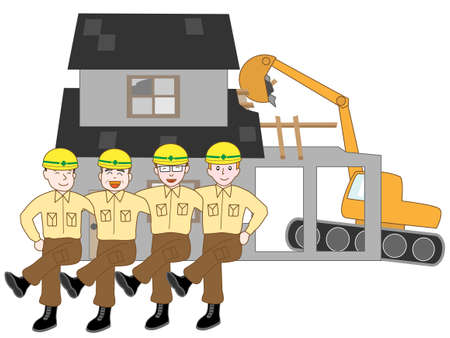 power shovel: The demolition of the House. The team of workers.
