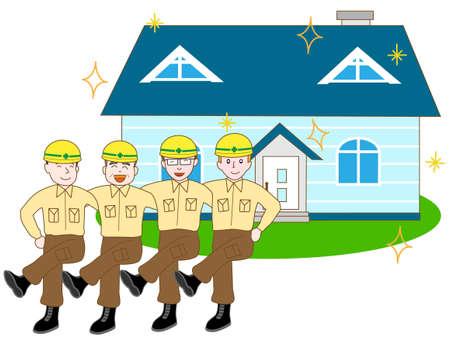 新たな住宅建設労働者の竣工を祝う。  イラスト・ベクター素材