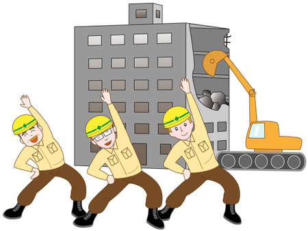 Demolition workers exercise