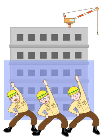 building construction: Construction workers building exercise