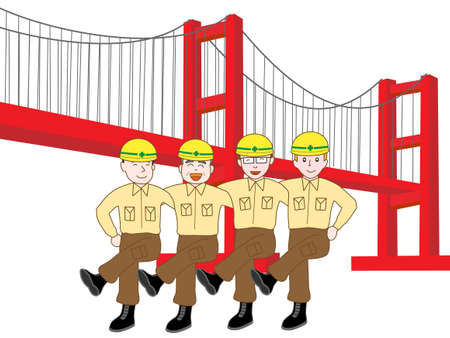 suspension bridge: Construction workers on the bridge exercise
