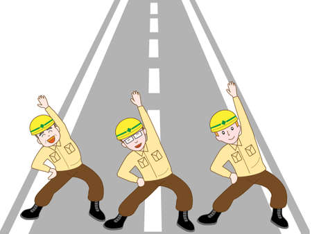 way bill: Road construction workers exercise