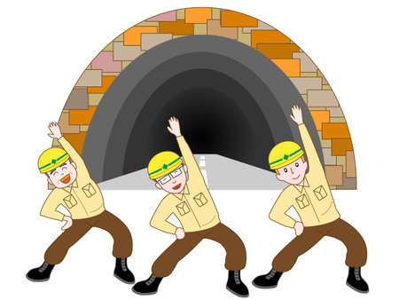 building site: Exercises for tunnel construction workers Illustration
