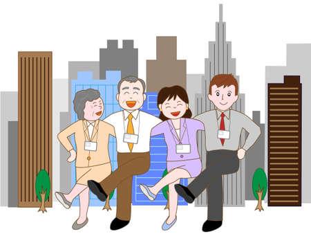 企業のチームワーク  イラスト・ベクター素材