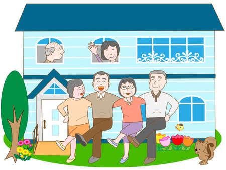 Plezier wonen in een voorziening voor ouderen Vector Illustratie