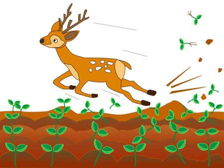 Deer ravaging farms 向量圖像