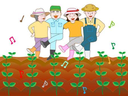 germinaci�n: Farmer celebra la germinaci�n Vectores
