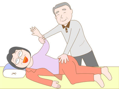 nursing clothes: Elderly is care for the elderly.