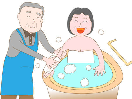 Elderly to care for the elderly Illustration