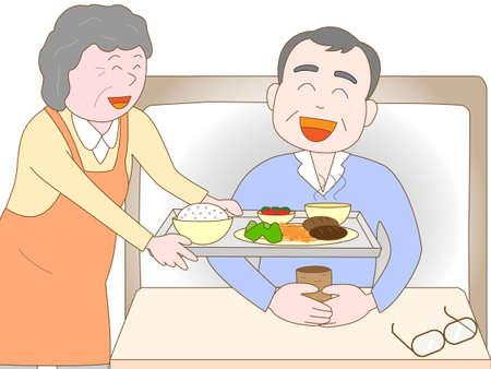 nursing care are for seniors: Elderly to care for the elderly Illustration