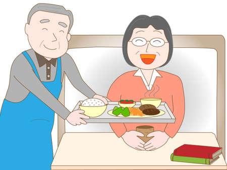 pflegeversicherung: Elderly to care for the elderly Illustration