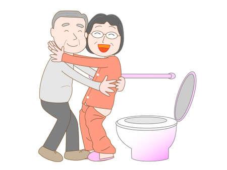 bowel movement: Elderly to care for the elderly Illustration