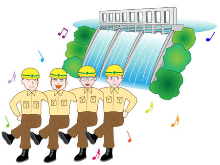 Workers at the construction site of a dam Illustration