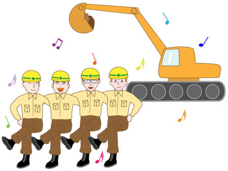 Workers with a shovel Illustration