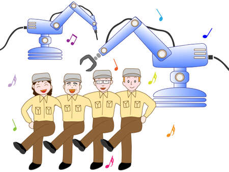 Factory workers to work in the industrial-use robot.  イラスト・ベクター素材