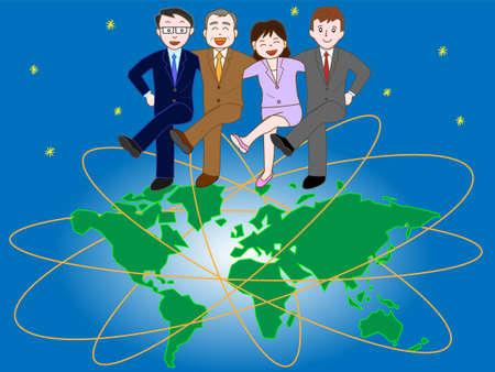 グローバル戦略を目指すビジネスマン  イラスト・ベクター素材