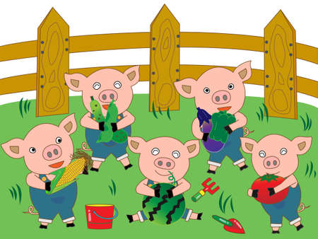 greengrocery: Piglets in a farm harvesting vegetables