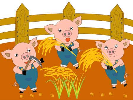 The suckling pig in a farm Illustration