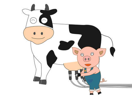 holstein: Piglet pinching milk from a cow
