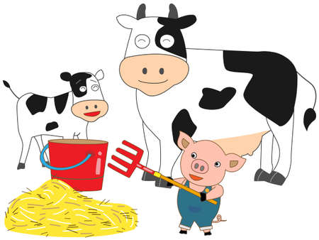 holstein: Little pigs dairy work